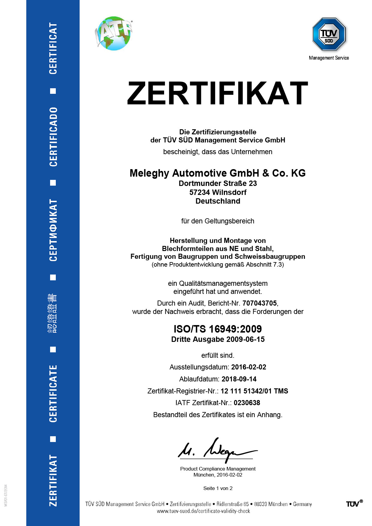 Meleghy Automotive Wilnsdorf Zertifikat ISO_TS-16949_de