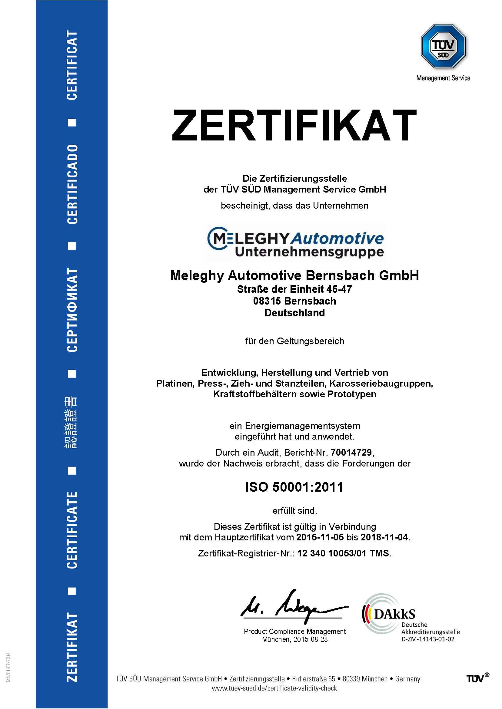 Meleghy Automotive Bernsbach Zertifikat ISO 50001_de