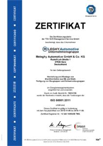 Meleghy Automotive Gera Zertifikat ISO 50001 DE