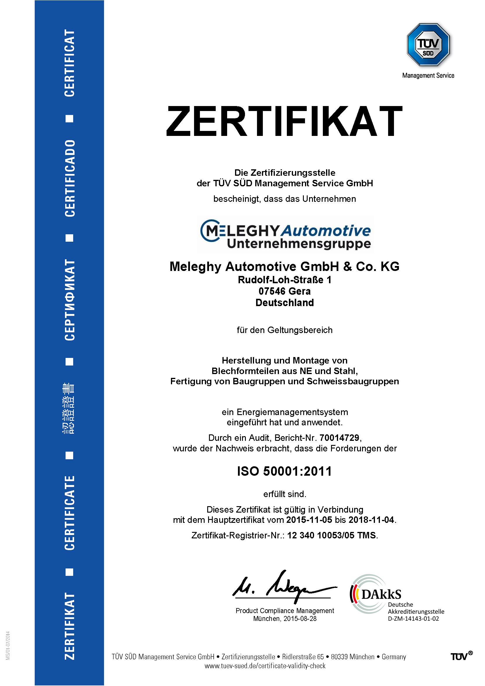 Meleghy Automotive Gera Zertifikat ISO 50001_de