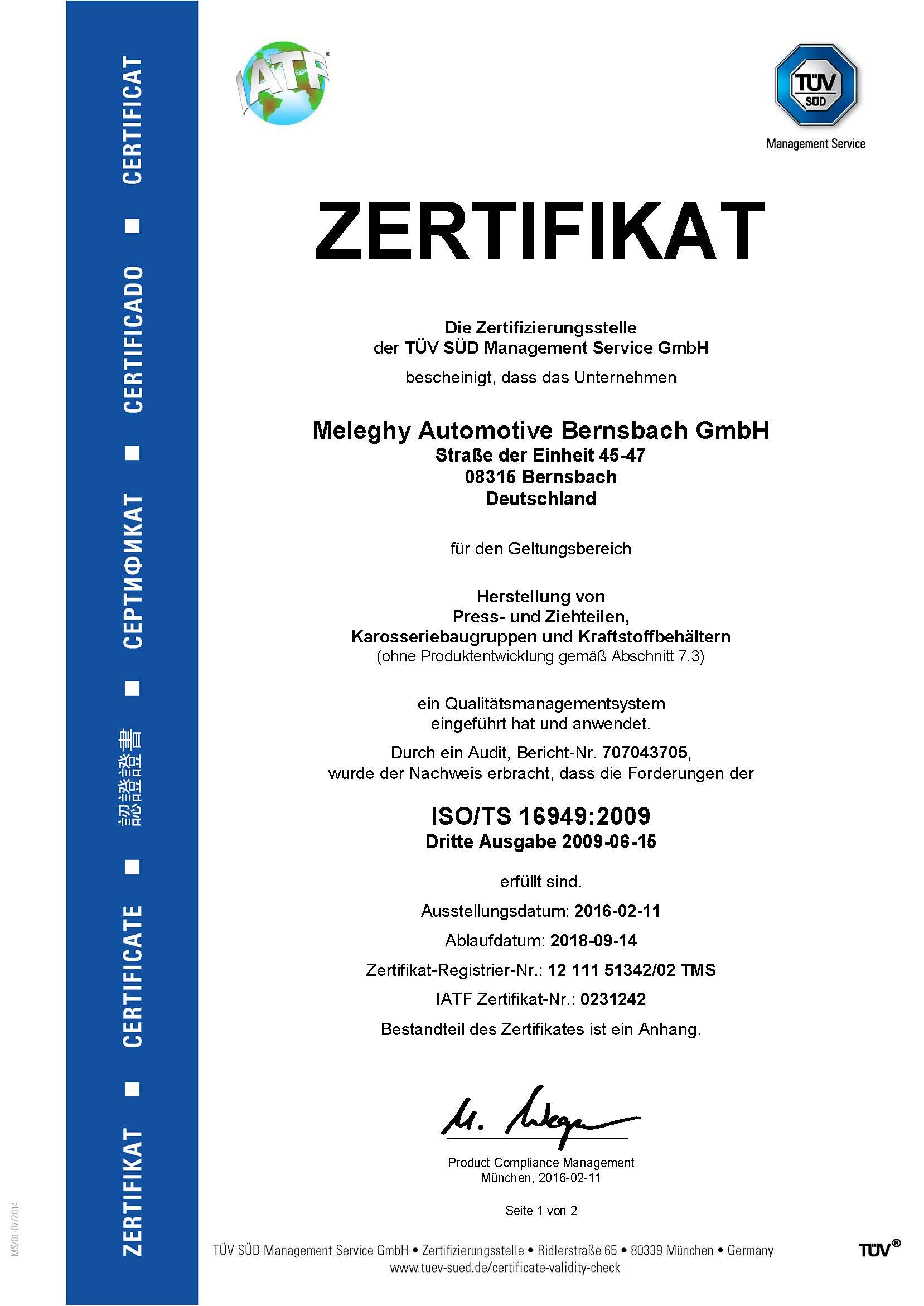 Meleghy Automotive Bernsbach Zertifikat ISO_TS 16949_de