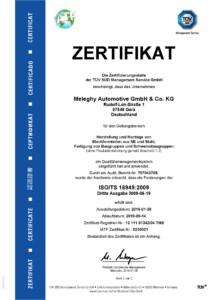 Meleghy Automotive Gera Zertifikat ISO TS 16949 DE