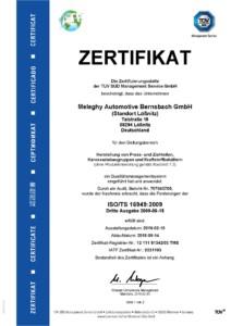 Meleghy Automotive Loessnitz Zertifikat ISO TS 16949 DE