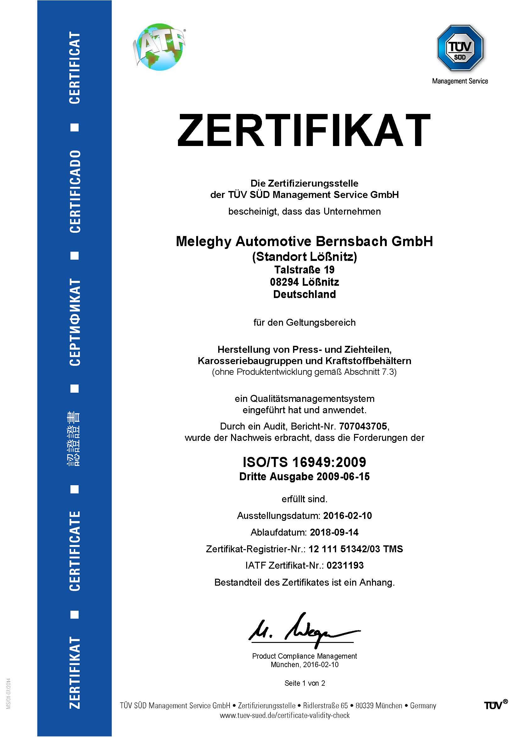 Meleghy Automotive Loessnitz Zertifikat ISO_TS 16949_de
