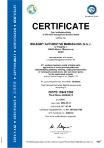 Meleghy Automotive Barcelona Certificate ISO 16949 EN