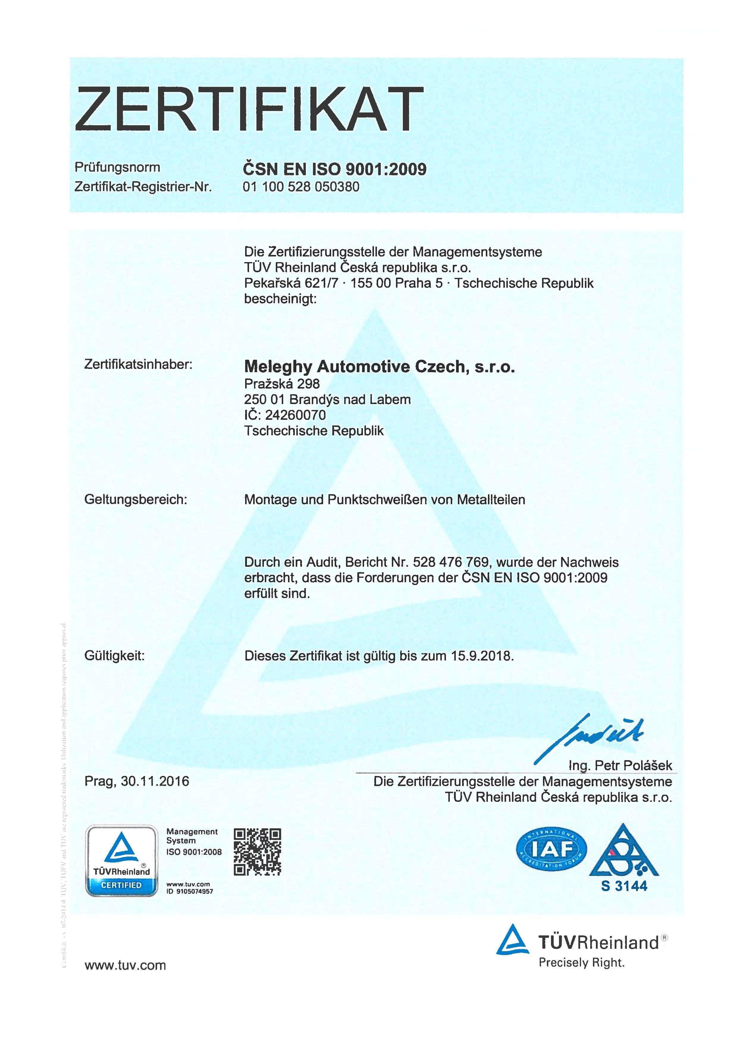 Meleghy Automotive Brandys Zertifikat EN_ISO_9001_2009