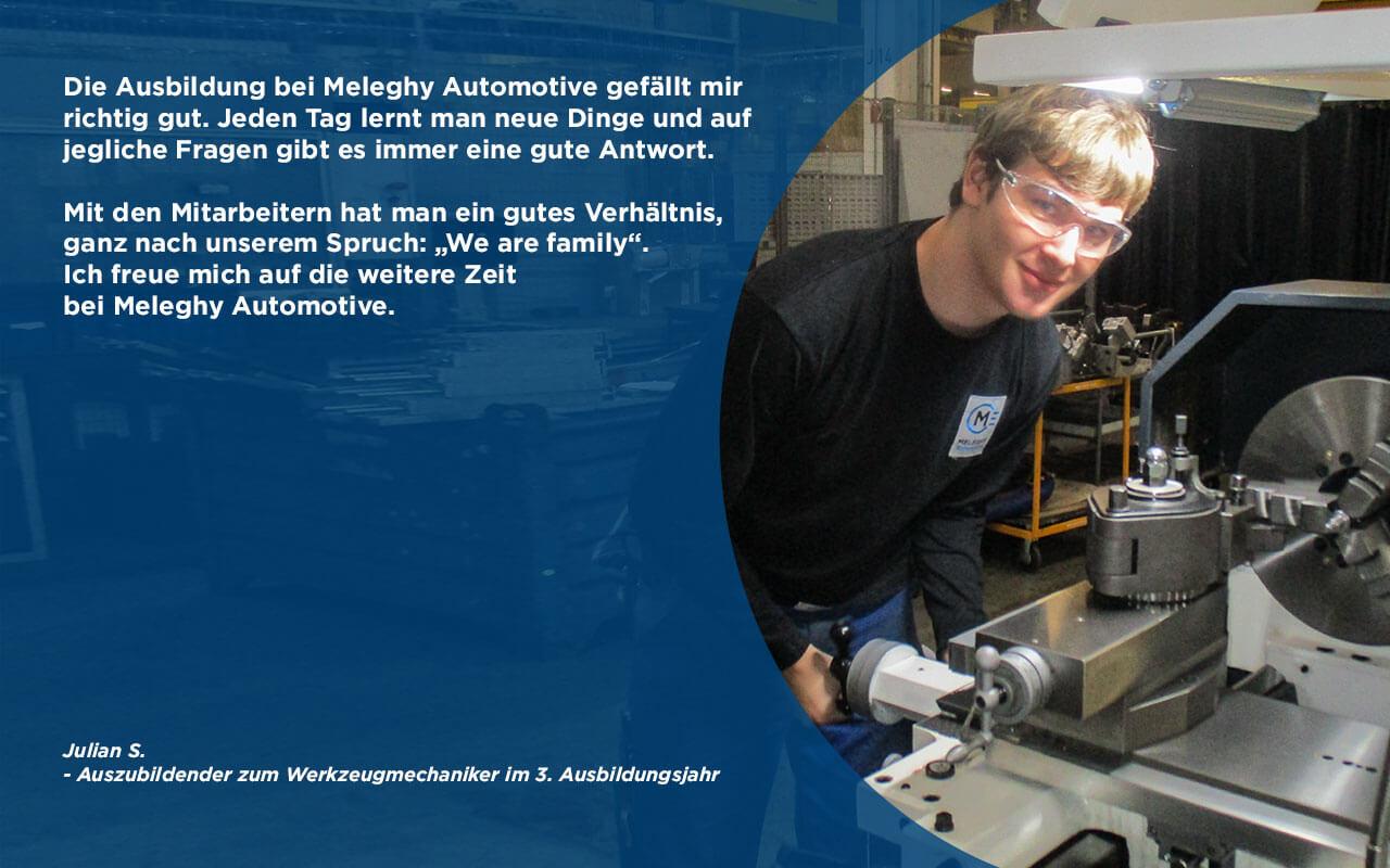 Azubi Julian S Meinung zur Ausbildung bei Meleghy Automotive