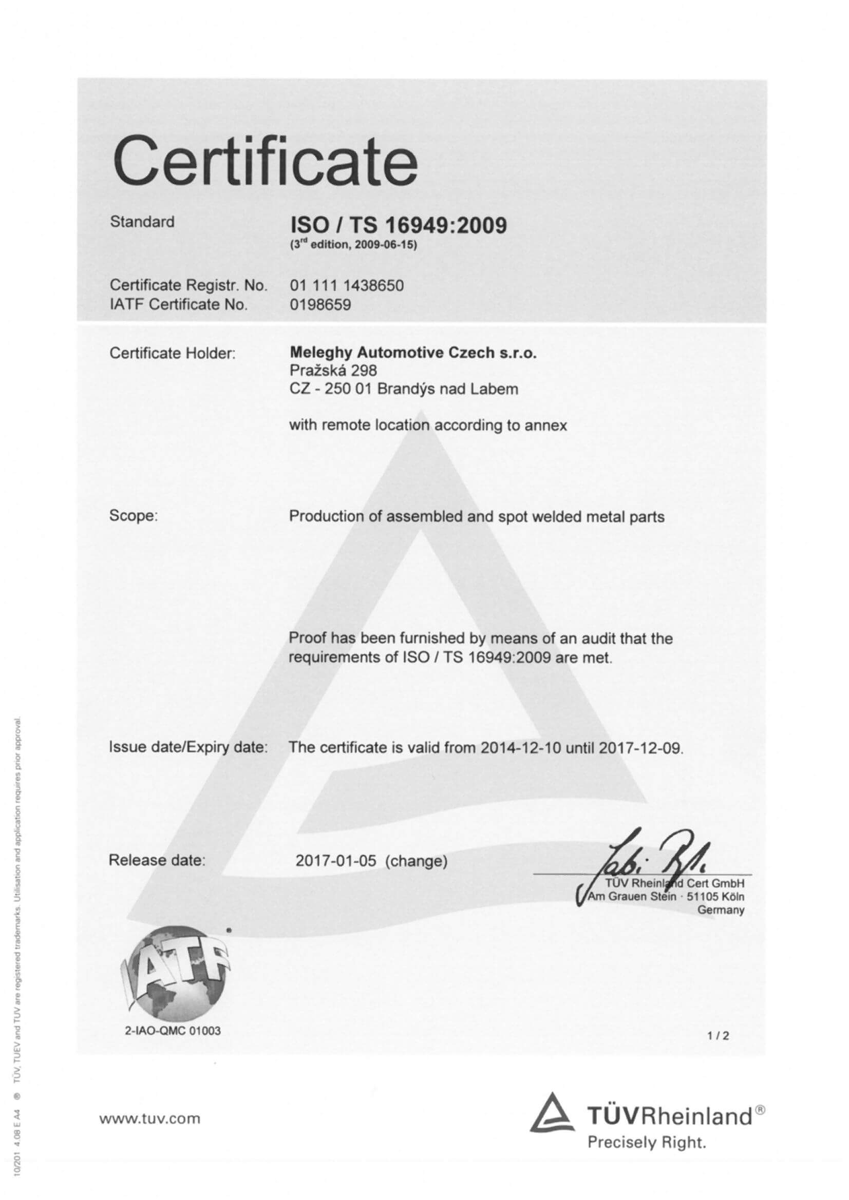Meleghy Automotive Brandys Zertifikat ISO_TS_16949_2009