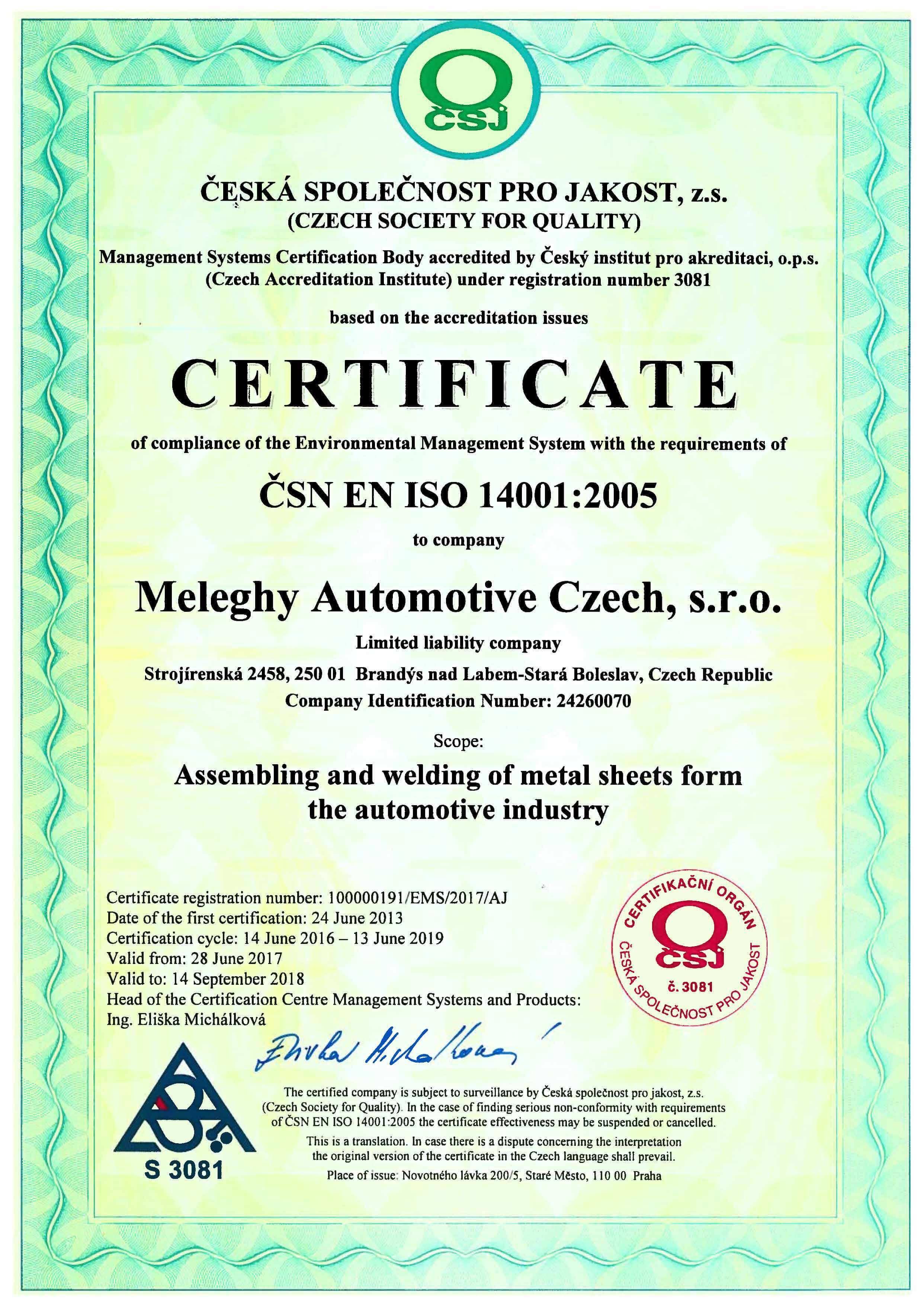 Meleghy Automotive Brandys Certificat ISO 14001_en