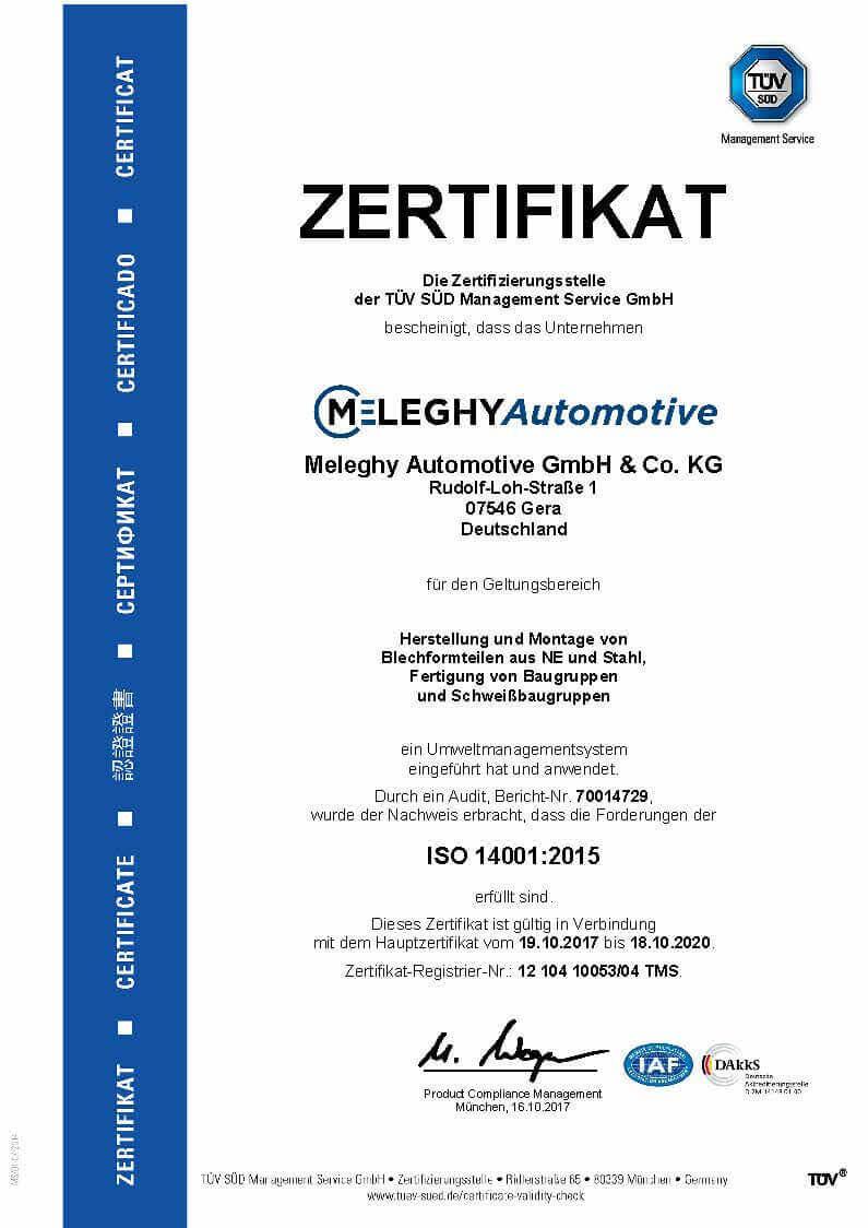 Meleghy Automotive Gera Zertifikat ISO 14001_de