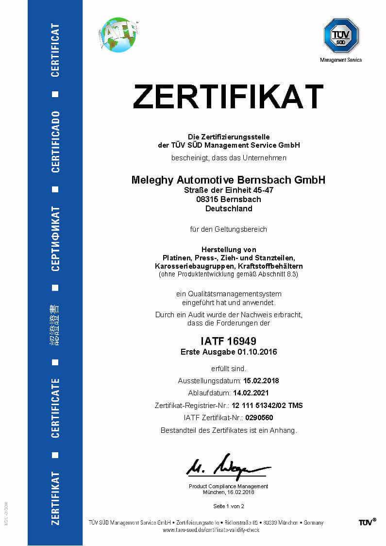 Meleghy Automotive Bernsbach Zertifikat ISO 9001_de