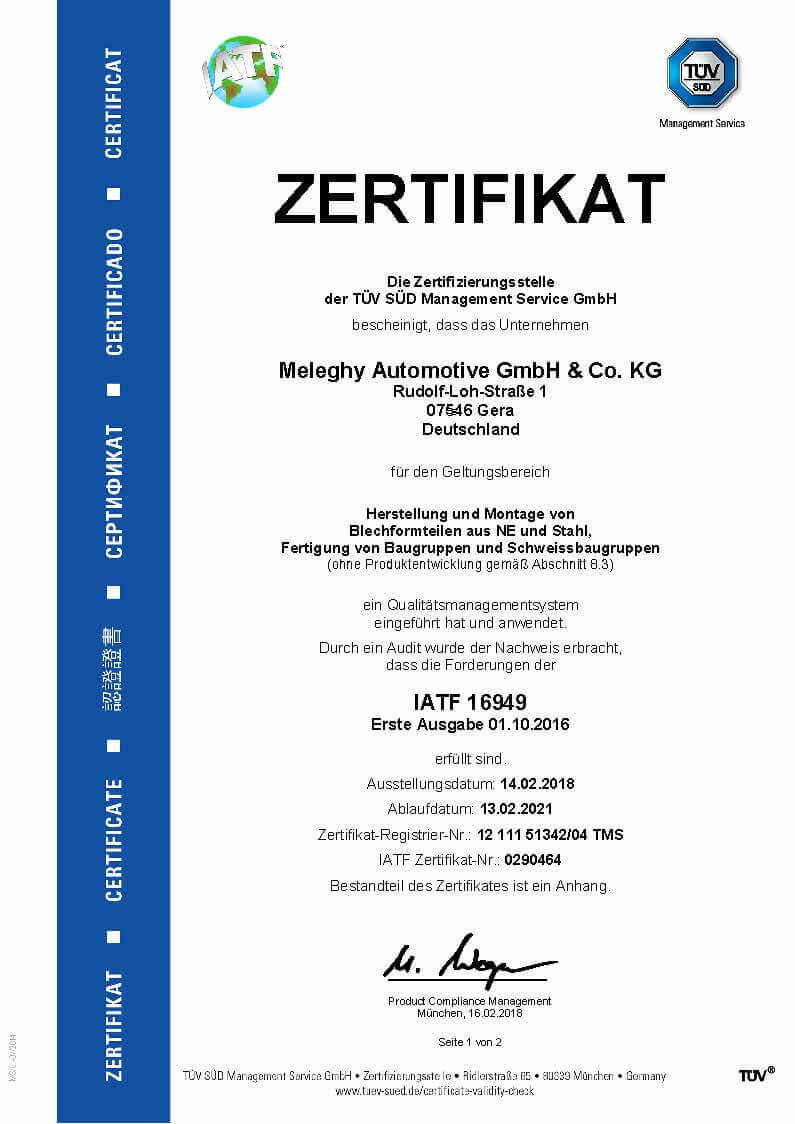 Meleghy Automotive Gera ISO 9001_de