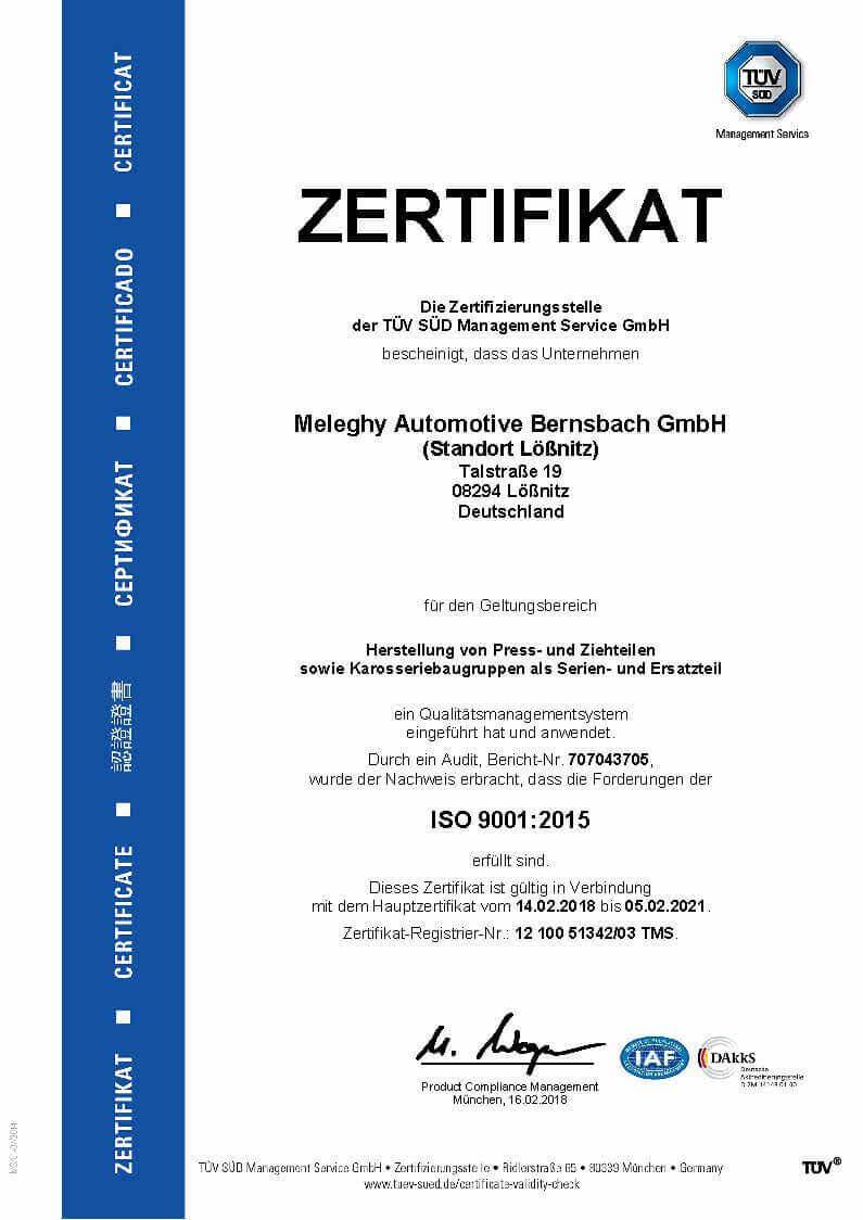Meleghy Automotive Loessnitz Zertifikat ISO 9001_de