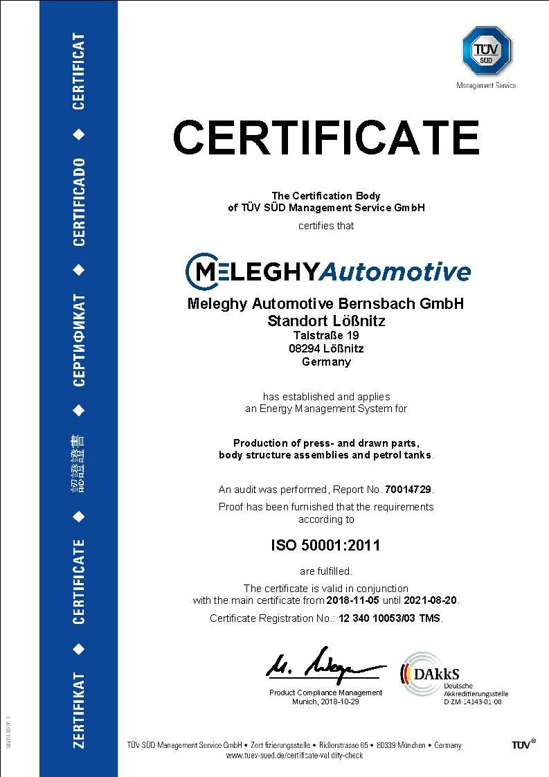 Meleghy Automotive Loessnitz Zertifikat ISO 50001_de