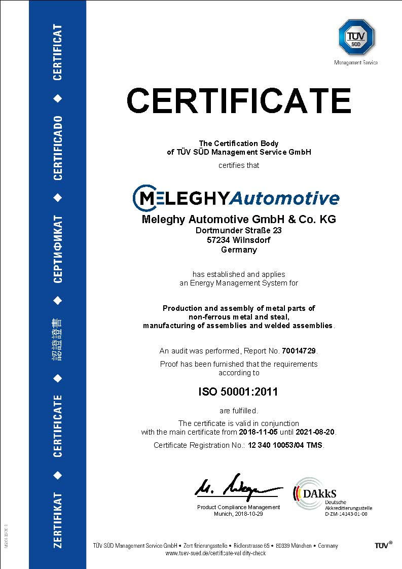 Meleghy Automotive Zertifikat ISO 50001_de
