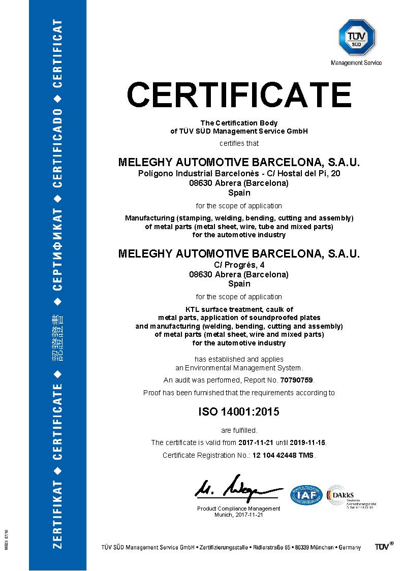 Meleghy Automotive Barcelona Certificate 14001_en