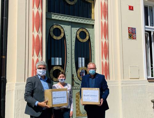 Mouth and nose protection masks donation Meleghy Automotive to town Brandýs nad Labem